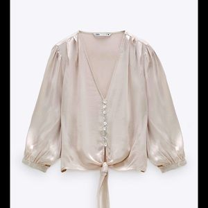 Zara knotted Satin blouse! BEAUTIFUL MOM DAY 💝